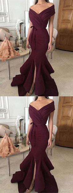 Sexy Evening Dresses,Burgundy Evening New Year Backless Prom Dresses,High-low Evening Dresses,Off Shoulder Party Gowns Pretty Dresses, Sexy Dresses, Beautiful Dresses, Fashion Dresses, 50 Fashion, Dresses Uk, Cheap Fashion, Fashion Styles, Dresses Online