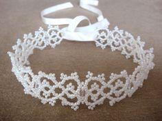 Lace Choker Necklace II Victorian Lace, Bridal Choker, Wedding Jewelry, Christmas Jewelry, Beaded by Seed Beads - SALE - lapuzelo. $69.00, via Etsy.