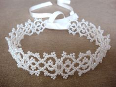 Lace Choker Necklace II Victorian Lace, Bridal Choker, Wedding Jewelry, Christmas Jewelry, Beaded by Seed Beads - SALE - lapuzelo. $69.00, via Etsy.