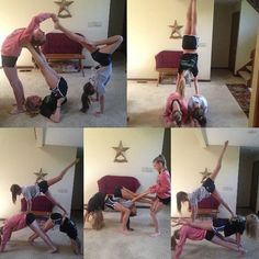 Acro yoga we tried the bottom right one at dance