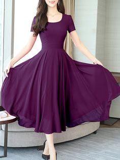 Round Neck Plain Maxi Dress - Purple Dresses - Ideas of Purple Dresses Women's Fashion Dresses, Sexy Dresses, Cute Dresses, Awesome Dresses, Bride Dresses, Wedding Dresses, Short Beach Dresses, Boho Dress, Dress Casual
