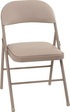 Cosco Vinyl 4-Pack Folding Chair, Antique Linen  Folds flat and compact for easy storage  Durable steel frame with powder-coated durable finish  Cross braces and tube-in-tube reinforced frame for strength and stability  Non-marring leg tips protect floor surfaces