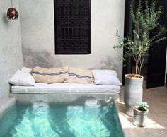 Backyard plunge pool with reading nook Riad Marrakech pool Outdoor Spaces, Outdoor Living, Outdoor Lounge, Outdoor Retreat, Outdoor Sheds, Outdoor Fun, Mini Piscina, Terrasse Design, Small Pools