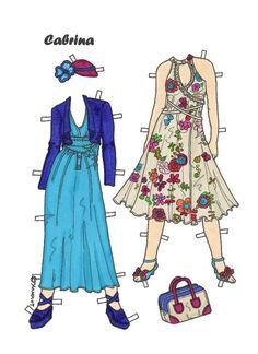Karen`s Paper Dolls: Cabrina 1-8 Paper Doll in Colours. Cabrina 1-8 Rosa 1-4 påklædningsdukke i farver.