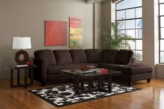 Enjoy both comfort and style with this simple sectional in chocolate.