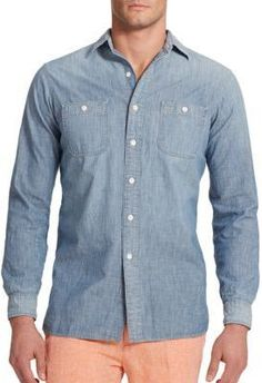 $125, Blue Chambray Long Sleeve Shirt: Polo Ralph Lauren Chambray Workshirt. Sold by Saks Fifth Avenue. Click for more info: https://lookastic.com/men/shop_items/307645/redirect