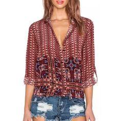 Stylish Women's Ethnic Print Hit Color Long Sleeve Shirt