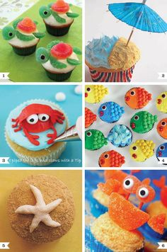 Beach themed cupcakes. These are so cute! The Fish Are so cute!!!