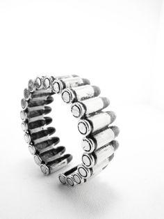 Bullet Gun bangle in white bronze design by by MafiaStudio on Etsy, ฿3,200.00