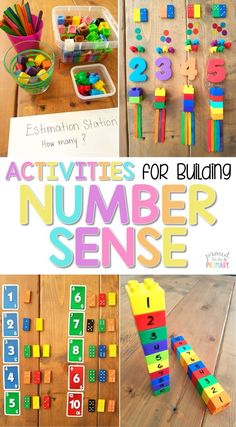 The ultimate spot for teachers to find math tips and strategies for building number sense to 20 in Kindergarten and first grade. An extensive list of number sense activities and resources are included: books, materials, math manipulatives, and FREE activi Preschool Learning, Kindergarten Activities, Activities For Kids, Preschool Math Games, Special Education Activities, Learning Activities, First Grade Activities, Math Activities For Preschoolers, Subitizing Activities