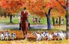 fox hunt scene; horse art