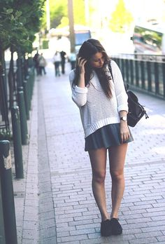 Get this look (sweater, skirt, backpack) http://kalei.do/WrP5UaO9xNsTjcF8