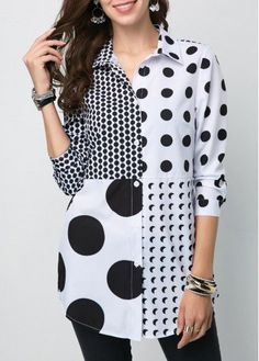 Cute Black And White Polka Dot Shirt Button Front Turndown Collar Polka Dot Shirt Blouse Styles, Blouse Designs, Vintage Clothing, Cheap Clothes, Clothes For Women, Casual Outfits, Fashion Outfits, Womens Fashion, Feminine Fashion