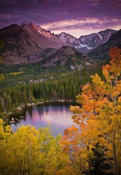 Autumn Sunset Over Bear Lake - Rocky Mountain National Park, Colorado