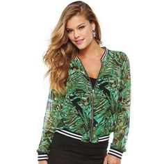 WOMENS JUICY COUTURE TROPICAL MESH BOMBER JACKET Like new Juicy bomber jacket. Very cute! Tropical palm tree pattern. The whole jacket is sheer and semi see thru except the cuffs, collar and waist. Zips up. Juicy Couture Jackets & Coats