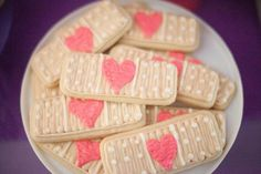 Adorable heart band-aid cookies for a Doc McStuffins Birthday Party Doc Mcstuffins Cookies, Doc Mcstuffins Birthday Party, 4th Birthday Parties, Birthday Fun, Birthday Ideas, Birthday Cookies, Birthday Stuff, Birthday Decorations, Minion