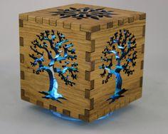 "4"" Tree of life Shadow Box . Reclaimed urban wood . Night light . eco Urban Timber"