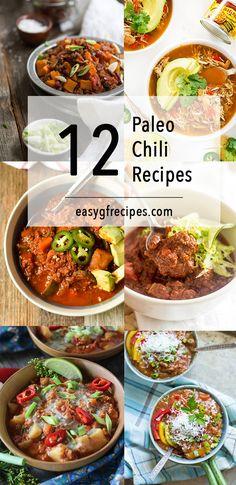12 Paleo Chili Recipes including slow cooker chili, chicken chili and paleo chili fries.