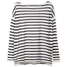 MARINER STRIPED SWEATER ($335) ❤ liked on Polyvore featuring tops, sweaters, stripe sweater, stripe top, white striped sweater, white cotton tops and white sweater