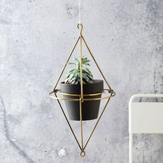 Hanging Wire Pot Bracket - Plated Brass ---- Garden Planters and Stone Planters   west elm