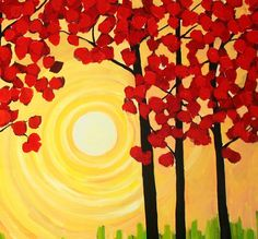 Bright sun with red leaf trees - canvas painting