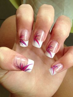 Acrylic French manicure with nail art design