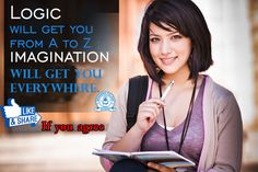 """#Albert Einstein #quote -: """"Logic will get you from A to B. Imagination will get you everywhere."""""""