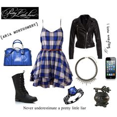 blue plaid, and of course, black. Aria Style, Her Style, Pll Outfits, Cute Outfits, Aria Montgomery Style, Pretty Little Liars Fashion, Everyday Fashion, Passion For Fashion, Street Style