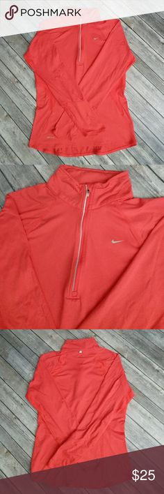 """Nike Dri-Fit Half Zip Top Long sleeve top in excellent used condition. Bust 18 1/2"""" laying flat. Overall length 25"""". Nike Tops Tees - Long Sleeve"""