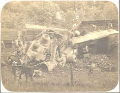Head-on collision of Engines 205 and 759, Wabash Line. Illinois, 1907.