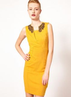 Starry Yellow Embellished Collar Dress,  Dress, sexy chic dress lady, Chic