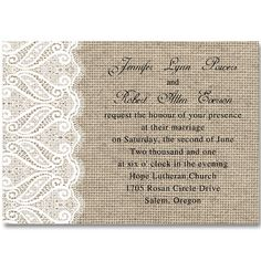 Classic Burlap & Lace Vintage Wedding Invitations Iwi264 : Wedding Invitations…