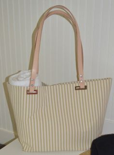 Striped Cotton Canvas Beach Bag by StylishLiving1 on Etsy, $85.00