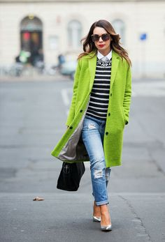 Add a pop of color to your outfit with a bright coat.