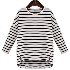 Stylish Jewel Neck Striped Long Sleeve High Low T-Shirt For Women
