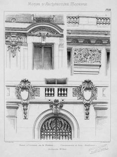 Motifs d& moderne Neoclassical Architecture, Classic Architecture, Victorian Architecture, Architecture Drawings, Historical Architecture, Architecture Details, Window Sketch, Sectional Perspective, French Buildings