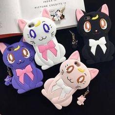 Cartoon 3D Silicone Sailor Moon Luna Cat Cute Soft Case Cover for iPhone 5 6 6P