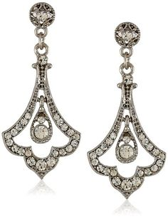 "Downton Abbey ""Stardust Boxed"" Silver Tone Edwardian Pave Crystal Accent Drop Earrings $25.25"