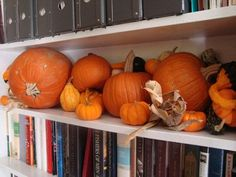 You don't need tons of room to give your home that great Fall feeling when entertaining. I love this idea for decorating one shelf with a mix of pumpkins, gourds, and corn. Perfect for small spaces! #partycrafters