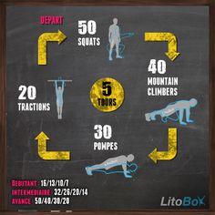 WOD de CrossFit avec 250 squats, 200 mountain climbers, 150 pompes et 100 tractions. Bon courage et bonne semaine ! #crossfit