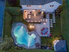 Backyard Layout, Backyard Plan, Backyard Pool Landscaping, Small Backyard Patio, Swimming Pools Backyard, Backyard Ideas, Pool Ideas, Patio Deck Designs, Backyard Pool Designs