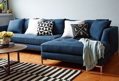 One Kings Lane - Room for More - Grant Right-Facing Sectional, Navy
