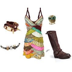 Short and sassy. So ready for summer! Recycled sari and cowboy boots with owl jewelry. Looks like I would be very stylish here!