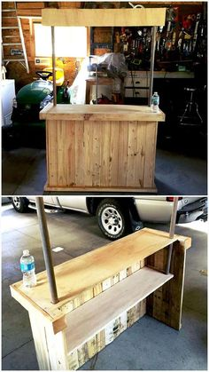 87 Epic Pallet Bar Ideas to Embrace for Your Event (pallett garden furniture bar) Wooden Pallet Projects, Wooden Pallet Furniture, Wooden Pallets, Pallet Ideas, Diy Projects, Pallet Designs, Bar Pallet, Palet Bar, Pallet Patio