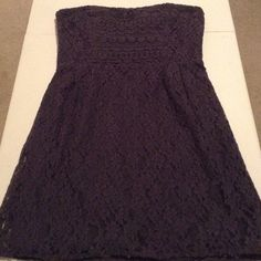 """Free People Charcoal Strapless Dress Nwt Free People Strapless """"I Heart Lace"""" Floral + Lace Charcoal/purpley dress Sweetheart Styled Top Long Zipper in the Back Size 12 Very Pretty Free People Dresses Strapless"""