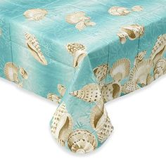 Seashell Border Flannel Back Vinyl Umbrella Tablecloths With Hole And  Zipper  Assorted Sizes  Oblong/oval And Round By Elrene X 84 Oblong)