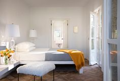 yellow and gray perfection. Strongly considering yellow in the bedroom with the white and gray : )