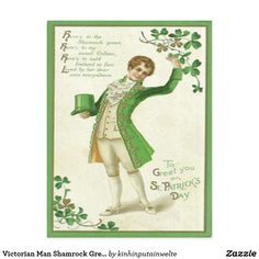 Victorian Man Shamrock Green Top Hat Postcard