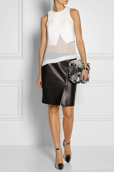 Dion Lee|Windfall bonded tech-jersey and silk-georgette top|NET-A-PORTER.COM