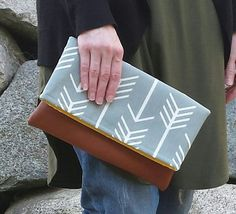 arrow fold over clutch leather fold over clutch by JessieBlume